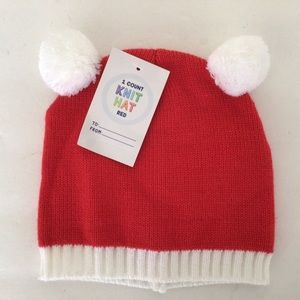 KIDS RED AND WHITE KNIT CHRISTMAS HAT NWT